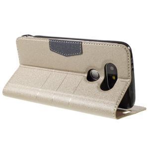 Klopové peňaženkové puzdro pre LG G5 - zlaté - 5