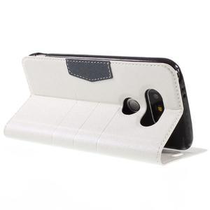 Klopové peňaženkové puzdro pre LG G5 - biele - 5