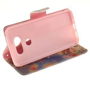 Obrázkové koženkové puzdro pre LG G5 - maľované listí - 5