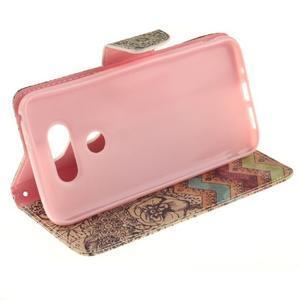 Obrázkové koženkové puzdro pre LG G5 - maľované kvetiny - 5