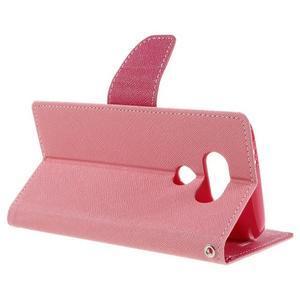 Goos stylové PU kožené puzdro pre LG G5 - ružové - 5