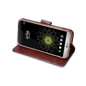 Jeans peňaženkové puzdro pre LG G5 - svetlomodré - 5