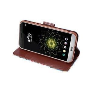 Květinové pouzdro na mobil LG G5 - modrý vzor - 5