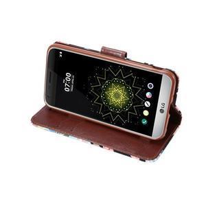 Kvetinové puzdro pre mobil LG G5 - čierny vzor - 5