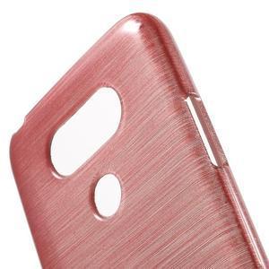 Hladký gélový obal s brúseným vzorem na LG G5 - ružový - 5
