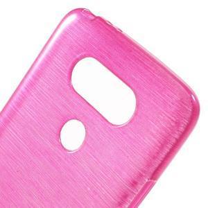 Hladký gélový obal s brúseným vzorem na LG G5 - rose - 5
