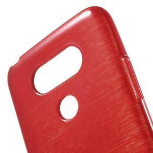 Hladký gélový obal s brúseným vzorem na LG G5 - červený - 5
