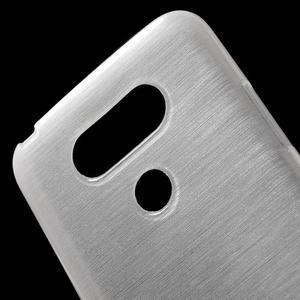 Hladký gélový obal s brúseným vzorem na LG G5 - biely - 5