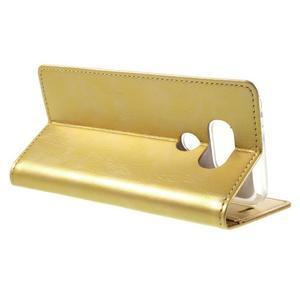 Luxury PU kožené puzdro pre mobil LG G5 - zlaté - 5
