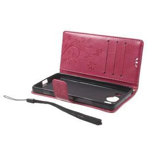 Butterfly PU kožené puzdro pre Microsoft Lumia 950 - rose - 5