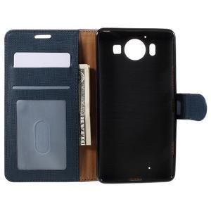 Cloth Peňaženkové puzdro pre mobil Microsoft Lumia 950 - tmavomodré - 5