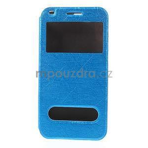 Klopové puzdro s okienkami na Huawei Ascend G7 - modré - 5