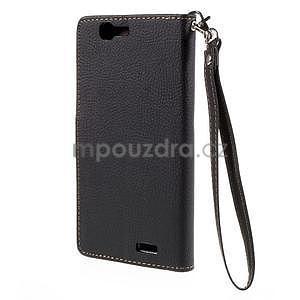 Čierne peňaženkové puzdro na Huawei Ascend G7 - 5