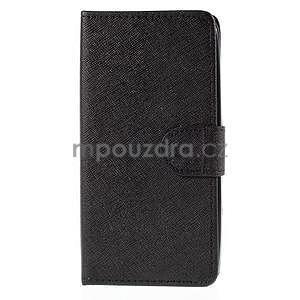 PU kožené čierne puzdro so zapínaním Huawei Y635 - 5