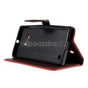 PU kožené púzdro so zapínaním na Nokia Lumia 730/735 - červené - 5