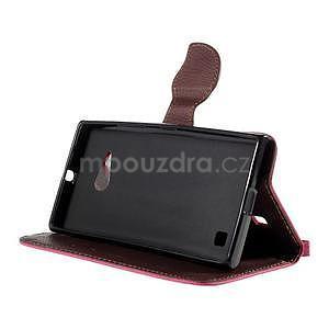 PU kožené púzdro so zapínaním na Nokia Lumia 730/735 - rose - 5