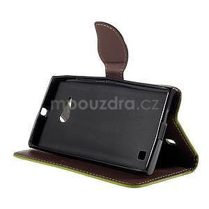 PU kožené púzdro so zapínaním na Nokia Lumia 730/735 - zelené - 5
