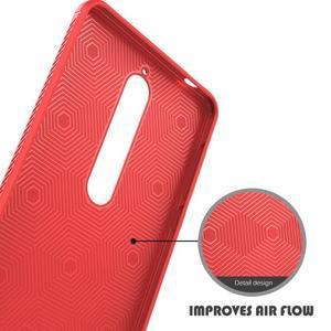 IVS gélový obal so štýlovou textúrou na Nokia 6.1 - červený - 5