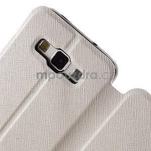 Klopové kožené puzdro na Samsung Galaxy A3 - biele - 5