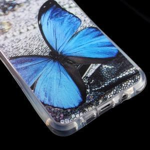 Tvarovaný gelový obal na Samsung Galaxy A5 (2016) - modrý motýl - 5