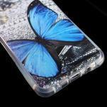 Tvarovaný gelový obal na Samsung Galaxy A5 (2016) - modrý motýl - 5/6