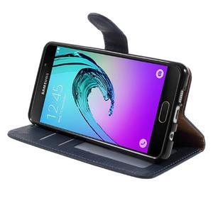 Cloth peněženkové pouzdro na Samsung Galaxy A5 (2016) - tmavěmodré - 5