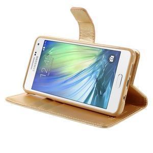 Luxusný PU kožené puzdro pre mobil Samsung Galaxy A5 (2016) - zlaté - 5