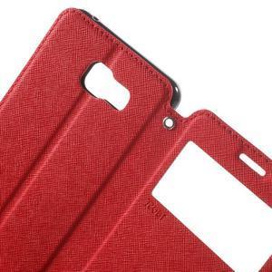 Peněženkové pouzdro s okýnkem na Samsung Galaxy A5 (2016) - červené - 5
