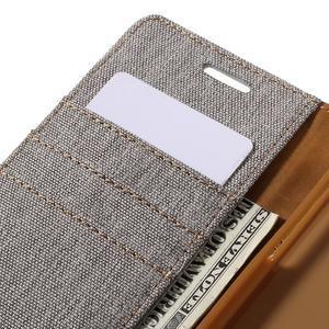 Canvas PU kožené/textilní pouzdro na Samsung Galaxy A5 (2016) - šedé - 5