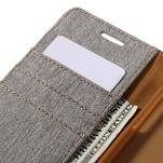 Canvas PU kožené/textilní pouzdro na Samsung Galaxy A5 (2016) - šedé - 5/7