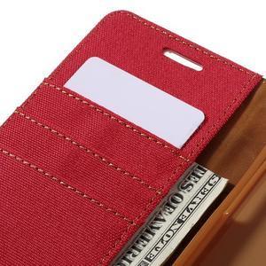 Canvas PU kožené/textilní pouzdro na Samsung Galaxy A5 (2016) - červené - 5