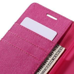 Canvas PU kožené/textilní pouzdro na Samsung Galaxy A5 (2016) - rose - 5