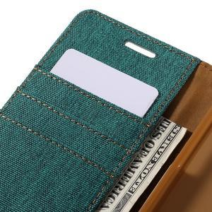 Canvas PU kožené/textilné puzdro pre Samsung Galaxy A5 (2016) - zelelné - 5
