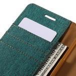 Canvas PU kožené/textilné puzdro pre Samsung Galaxy A5 (2016) - zelelné - 5/7