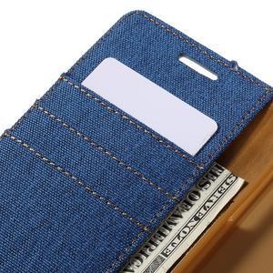 Canvas PU kožené/textilné puzdro pre Samsung Galaxy A5 (2016) - modré - 5