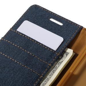 Canvas PU kožené/textilní pouzdro na Samsung Galaxy A5 (2016) - tmavě modré - 5