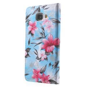 Kvetinové peňaženkové puzdro pre Samsung Galaxy A5 (2016) - modré - 5