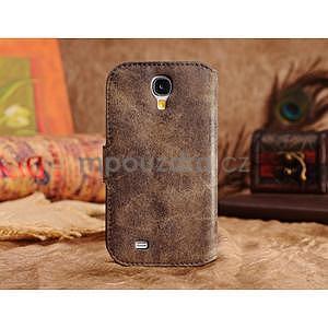 Peněženkové pouzdro z pravé kůže na Samsung Galaxy S4 - hnědá I - 5