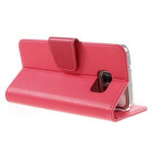 Rich PU kožené peňaženkové puzdro pre Samsung Galaxy S7 - rose - 5