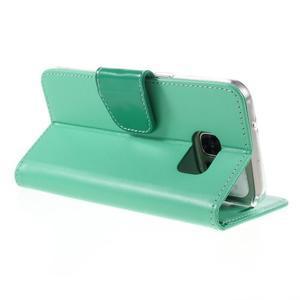 Rich PU kožené peňaženkové puzdro pre Samsung Galaxy S7 - azúrové - 5