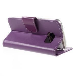 Rich PU kožené peňaženkové puzdro pre Samsung Galaxy S7 - fialové - 5