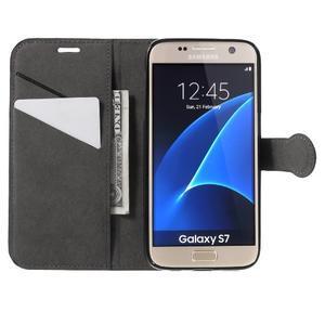 Leat PU kožený obal na Samsung Galaxy S7 - černý - 5