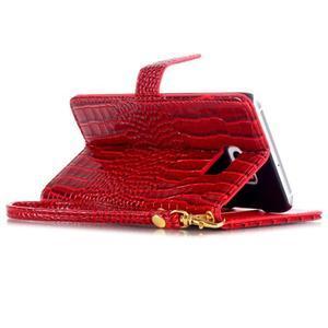 Croco styl peněženkové pouzdro na Samsung Galaxy S7 - červené - 5