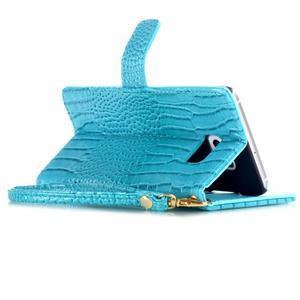 Croco styl peňaženkové puzdro pre Samsung Galaxy S7 - modré - 5