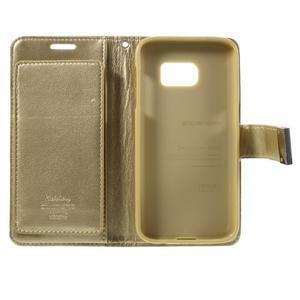 Luxury PU kožené pouzdro na Samsung Galaxy S7 - zlaté - 5