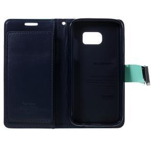 Luxury PU kožené puzdro pre Samsung Galaxy S7 - azúrové - 5