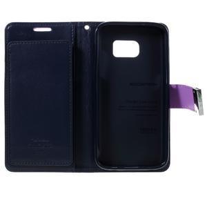 Luxury PU kožené puzdro pre Samsung Galaxy S7 - fialové - 5