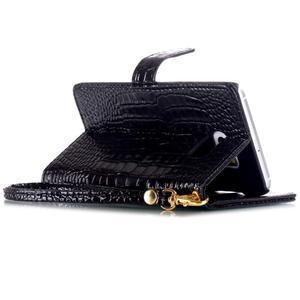 Croco styl peňaženkové puzdro pre Samsung Galaxy S7 - čierne - 5