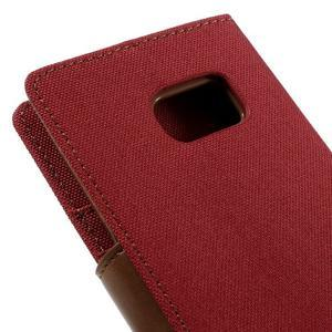 Canvas PU kožené/textilní puzdro pre Samsung Galaxy S7 - červené - 5