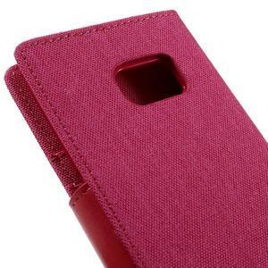 Canvas PU kožené/textilní puzdro pre Samsung Galaxy S7 - rose - 5